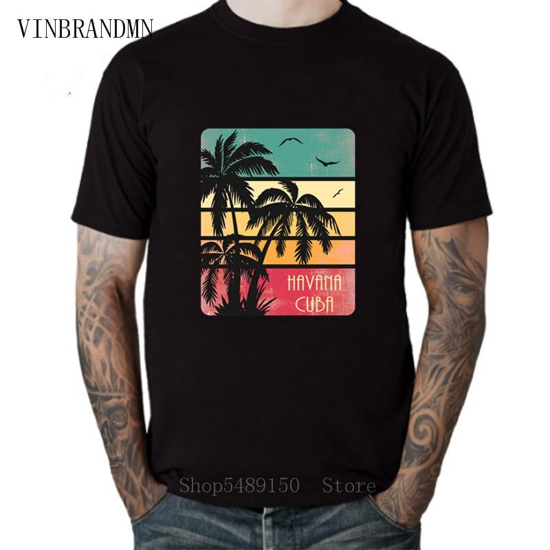 Retro Hipster Havana Tshirt Vintage Sunset Kuba Cuba Party DJ Club T Shirt Che Guevara Men's T-Shirts 100% Cotton Beach Clothing