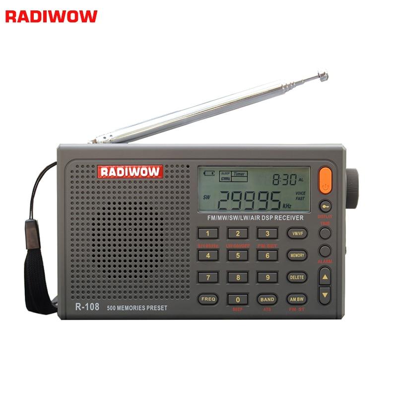 Radiwow R-108 FM Stereo Digital Portable Radio Sound Alarm Function Display Clock Temperature Speaker can as Parent/Friend gift