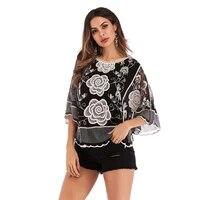lace loose top three quarter sleeve sexy mesh woman tshirts o neck summer casual fashion batwing sleeve t shirts clothes