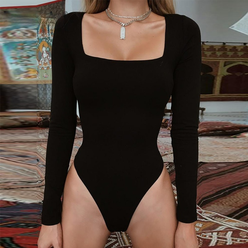 Forefair Sexy Bodycon Bodysuit Long Sleeve Square Neck Sheath Crotch Basic White Black Red Overalls Summer Women Body Top