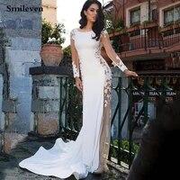 smileven lace mermaid wedding dress long sleeve sexy lace beach bride dresses train elegant wedding boho bridal gowns