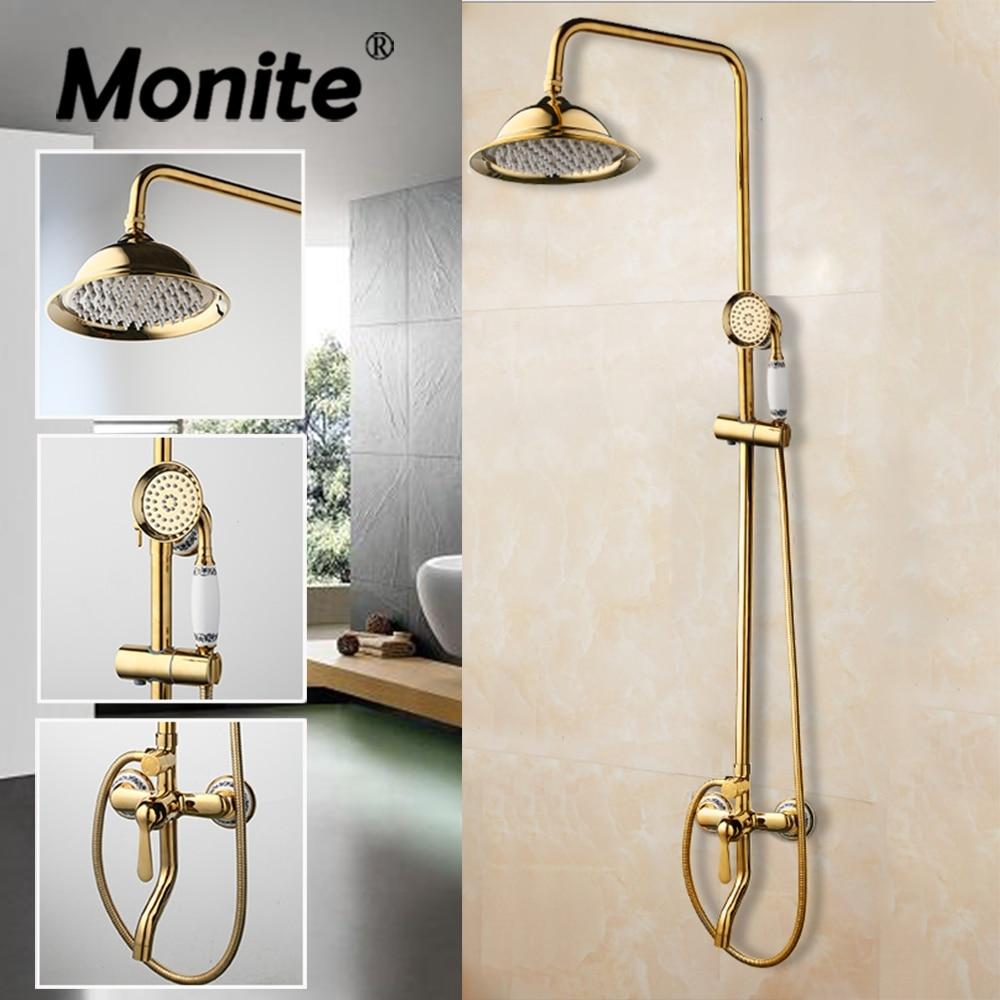 Monite-مجموعة صنبور دش نحاسية ذهبية فاخرة مثبتة على الحائط ، خلاط بمقبض سيراميك واحد ، دش يدوي