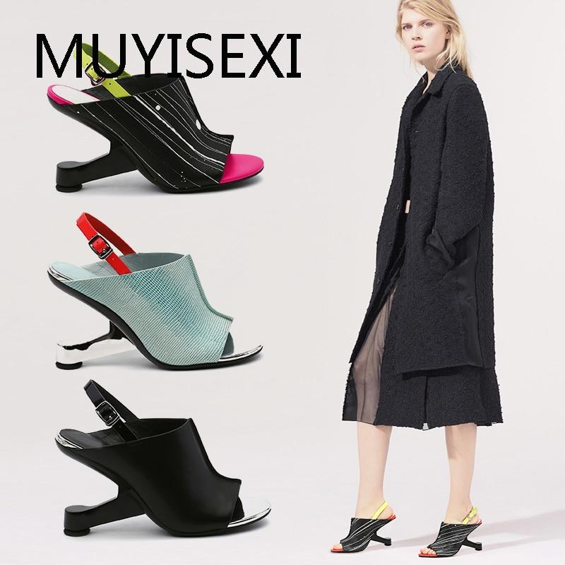 Colorful Women Gladiator Sandals Strange Steel High Heel Wedge Shoes Woman Peep Toe Women Pumps Ladies HL141 MUYISEXI