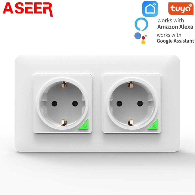 مقبس حائط ذكي من ASEER بمعايير الاتحاد الأوروبي ، تطبيق Tuya Smart life ، تطبيق التحكم عن بعد الصوتي 10A16A ، قابس طاقة يعمل بالواي فاي ، يعمل مع Google Home Alexa