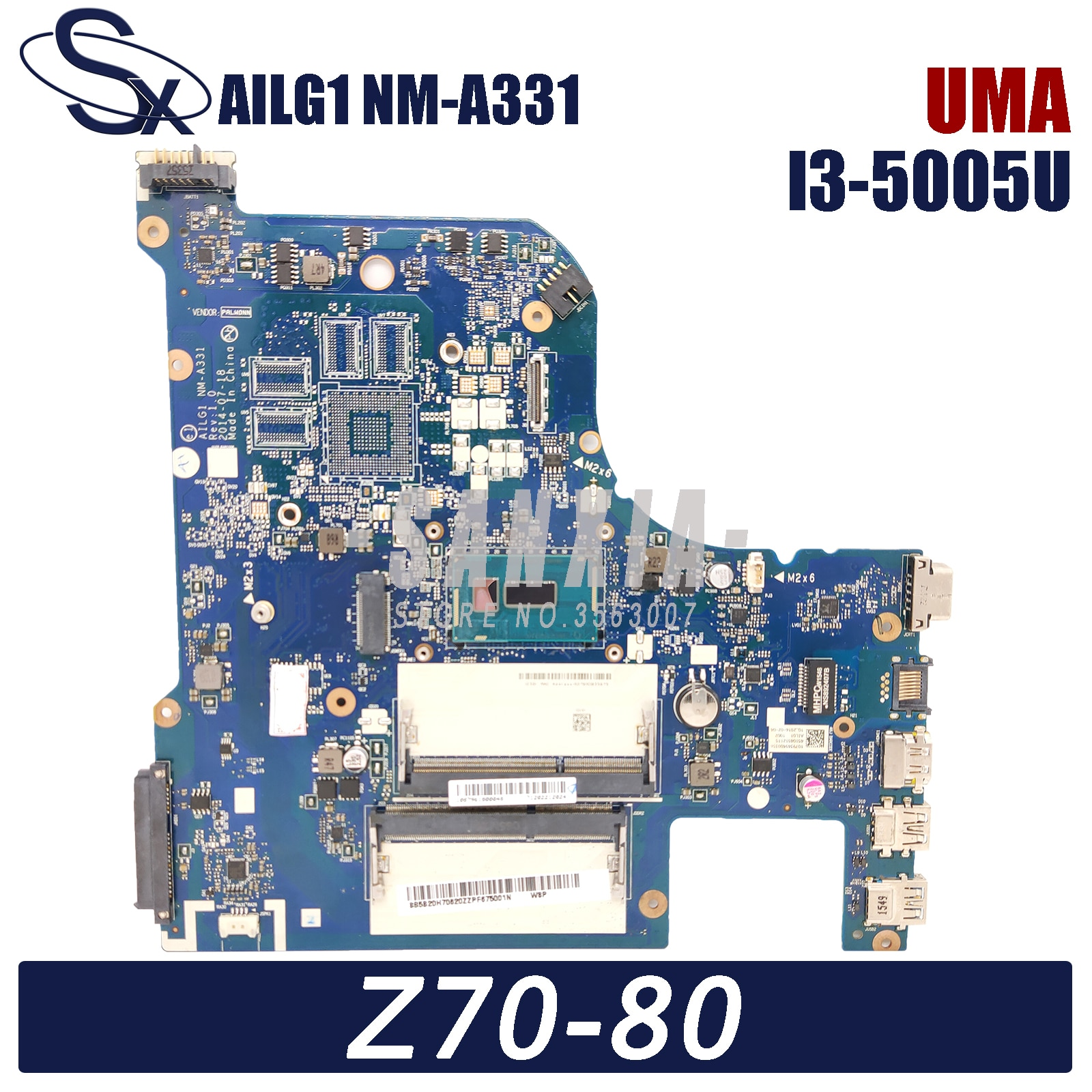KEFU AILG1 NM-A331 اللوحة الأم لأجهزة الكمبيوتر المحمول لينوفو Z70-80 G70-80 اللوحة الرئيسية الأصلية DDR3L UMA I3-5005U