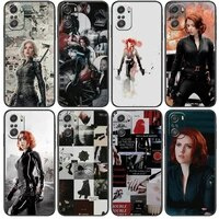 marvel avengers black widow cartoon phone case for xiaomi redmi note 10 9 9s 8 7 6 5 a pro s t black cover silicone back pre sty