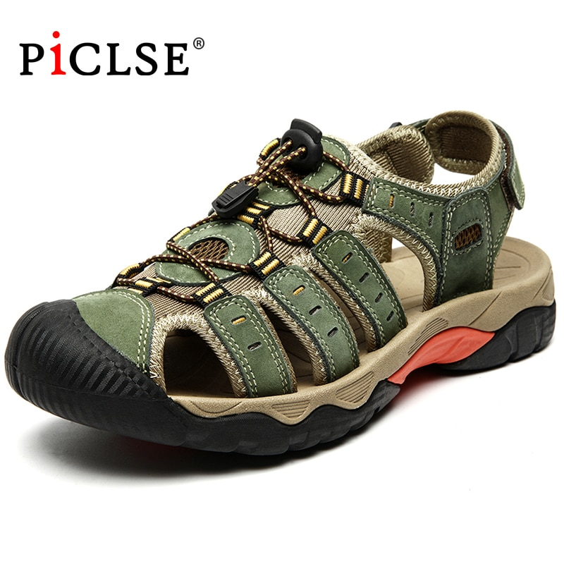 الصيف جلد أصلي للرجال صنادل شاطئ النمط الروماني الرجال الصنادل أحذية من الجلد للشاطئ أحذية مشي في الهواء الطلق الذكور Sandalias