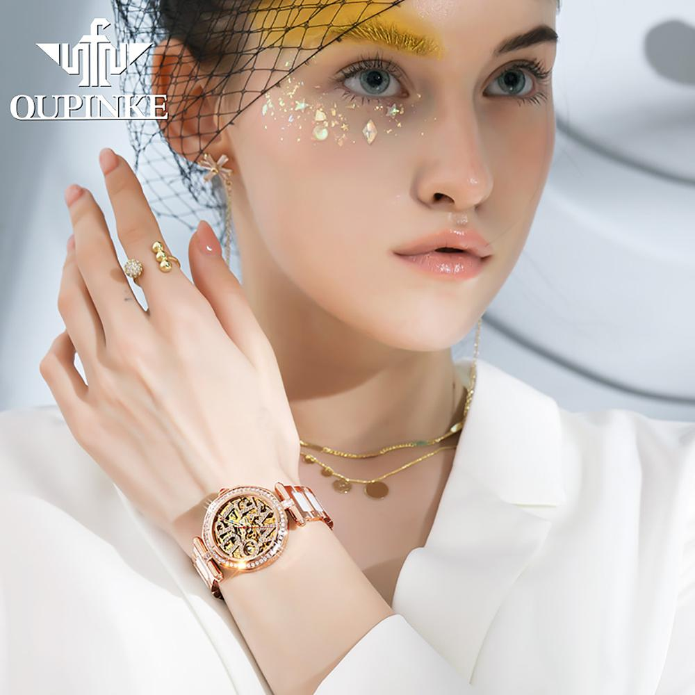 OUPINKE Women watch Set Waterproof Automatic Mechanical watch Female Ceramic watch Gift for Women Wristwatches enlarge