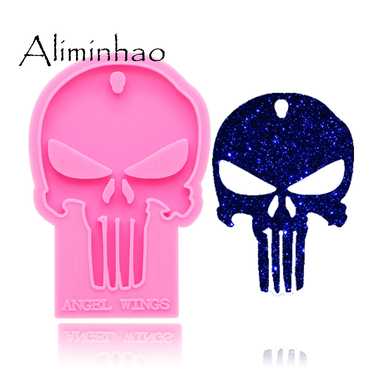 DY0158 Shiny Halloween skull Silicone Molds For DIY key ring epoxy resin Mold Craft custom keychain