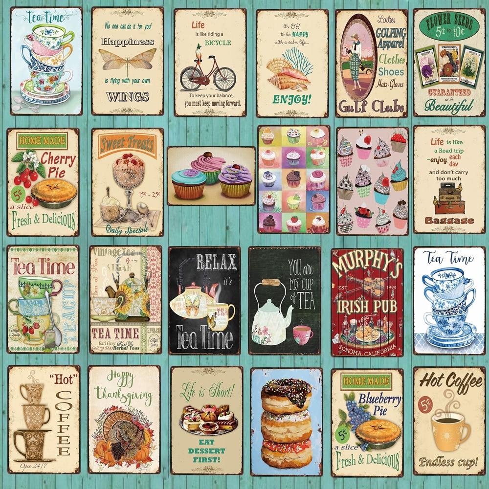 【YZFQ 】 постер для чайного времени кухонная вывеска для домашнего приготовления пирог Оловянная металлическая табличка винтажная настенная тарелка для паба ресторана домашнего декора DU-4814A
