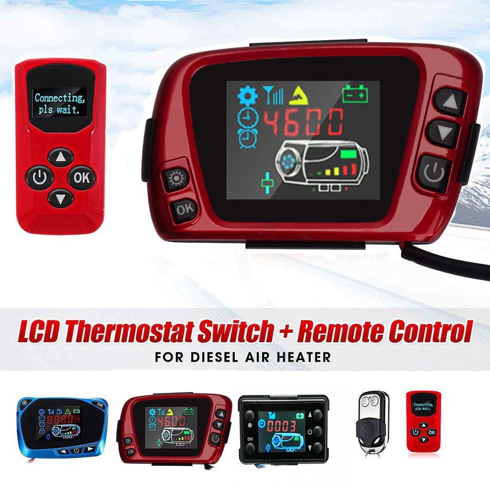 12V/24V LCD Display Thermostat Monitor Switch+Remote Controller Accessories For 5kw/8kw Car Heater Car Parking Diesel Heater 12v 24v lcd monitor switch remote controller accessories for car track diesels air heater parking heater car accessories