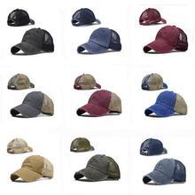 High Ponytail Adjustable Baseball Cap  Mesh Trucker Baseball Hat Washed Baseball Cap Ponytail Hats For Men Women Multicolor