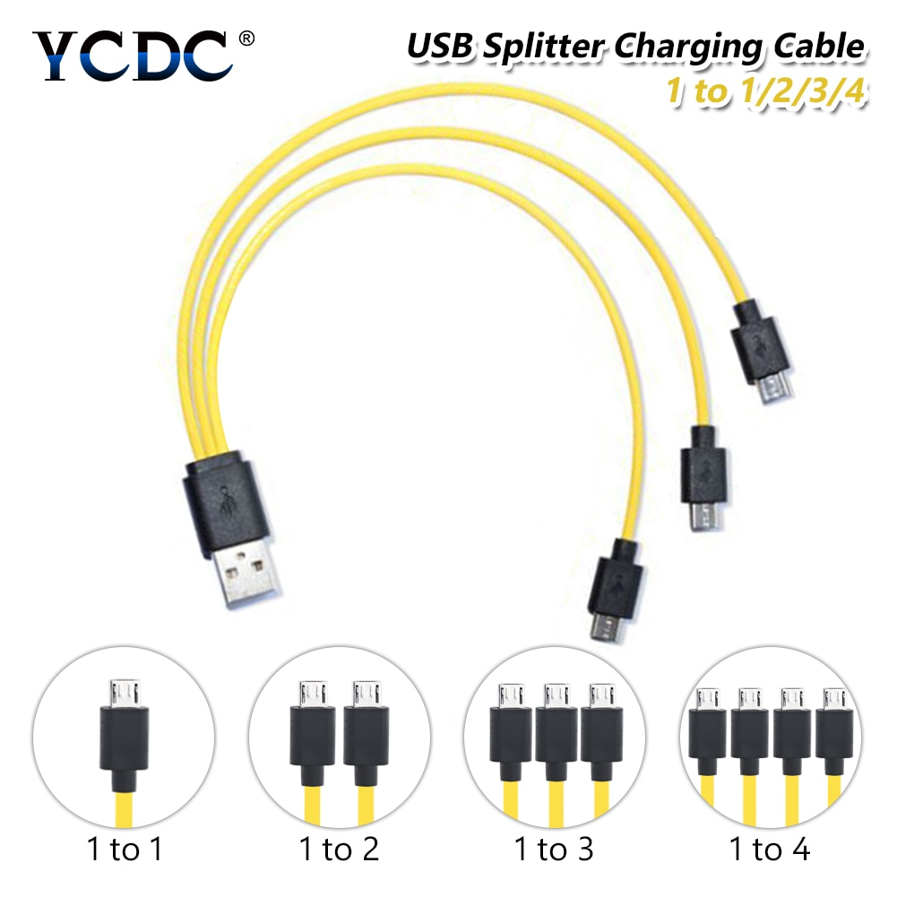 USB 2.0 to Micro USB 1 to 4 Fast Charging Cable Samsung Charger Splitter Cord For Android Phone LG & HTC Tablet MP3 player