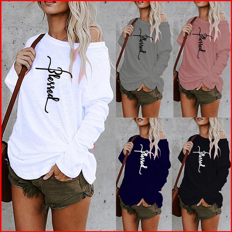 Tops con letras y hombros descubiertos para Mujer, Top informal Y2k, Camiseta...