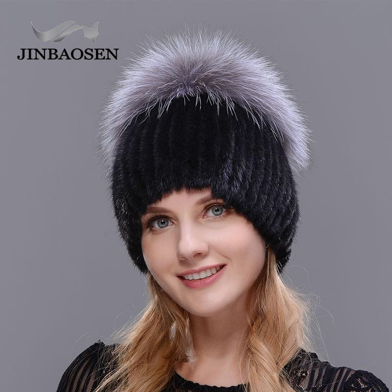 JINBAOSEN Hot Sale Fashion Winter warm Women Knit Caps Mink hats with FOX Fur Vertical woven Top