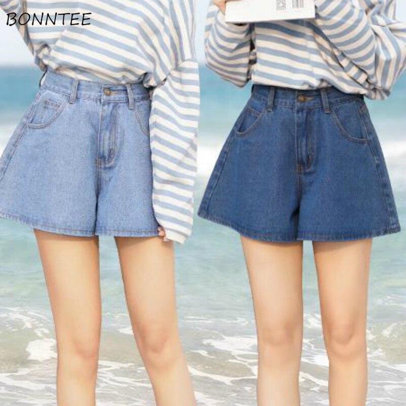 Pantalones cortos de verano para mujer, pantalones cortos de pierna ancha Ulzzang fáciles de combinar en azul liso y cintura alta, faldas cortas sencillas para mujer con botones, nuevo diseño de talla grande