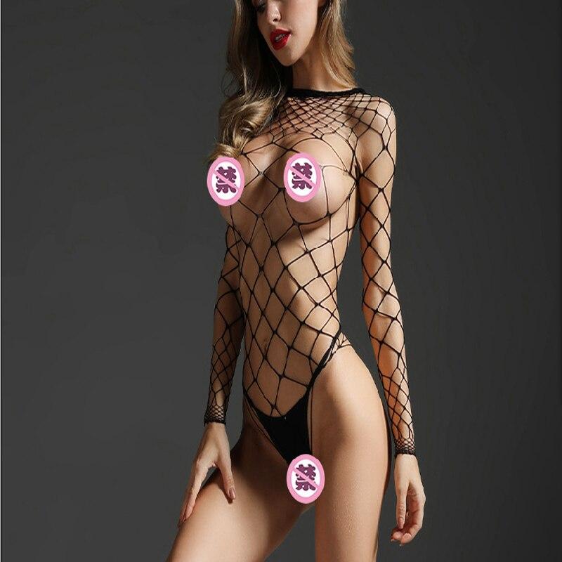 Sexy Open Crotch Bodystockings See through Elastic Fishnet Bodysuit Porno Women Open Lingerie Erotic