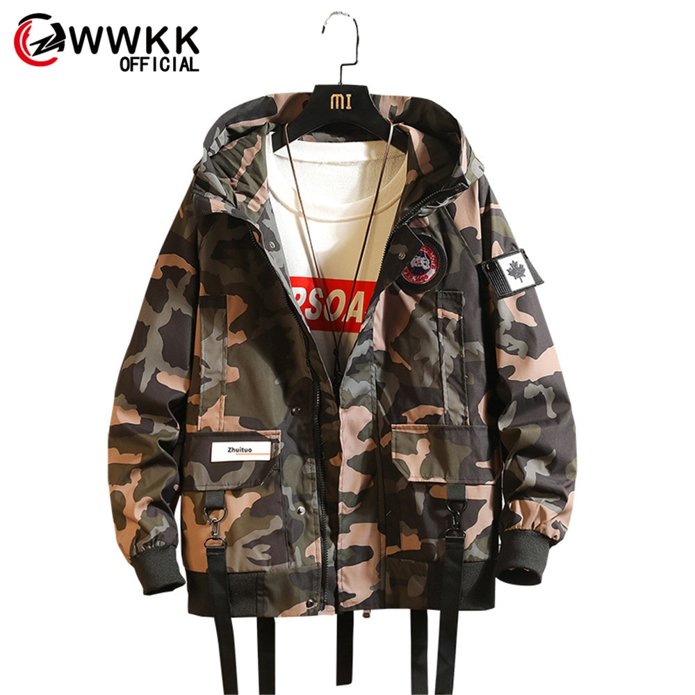Camouflage Multi-Pocket Hooded Jackets Men Street Brand Male Long-sleeved Home Leisure Trend Port Wind Men's Comfortable Jacket