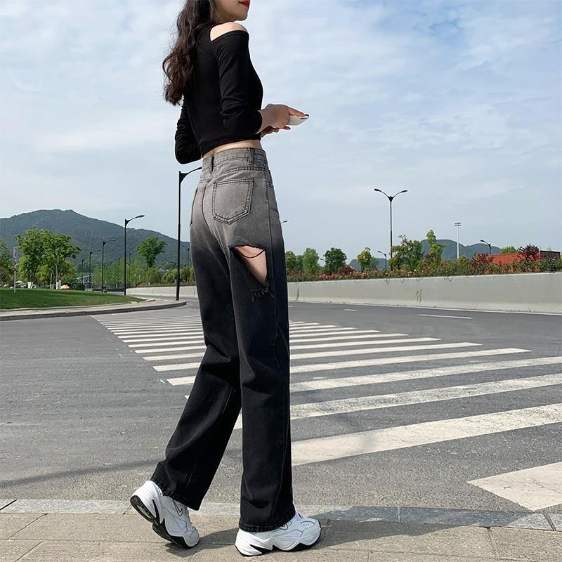 2021 جديد الصيف رقيقة ممزق جينز المرأة عالية الخصر التخسيس فضفاض مستقيم حجم كبير طالب ثنى Mop بنطال ذو قصة أرجل واسعة