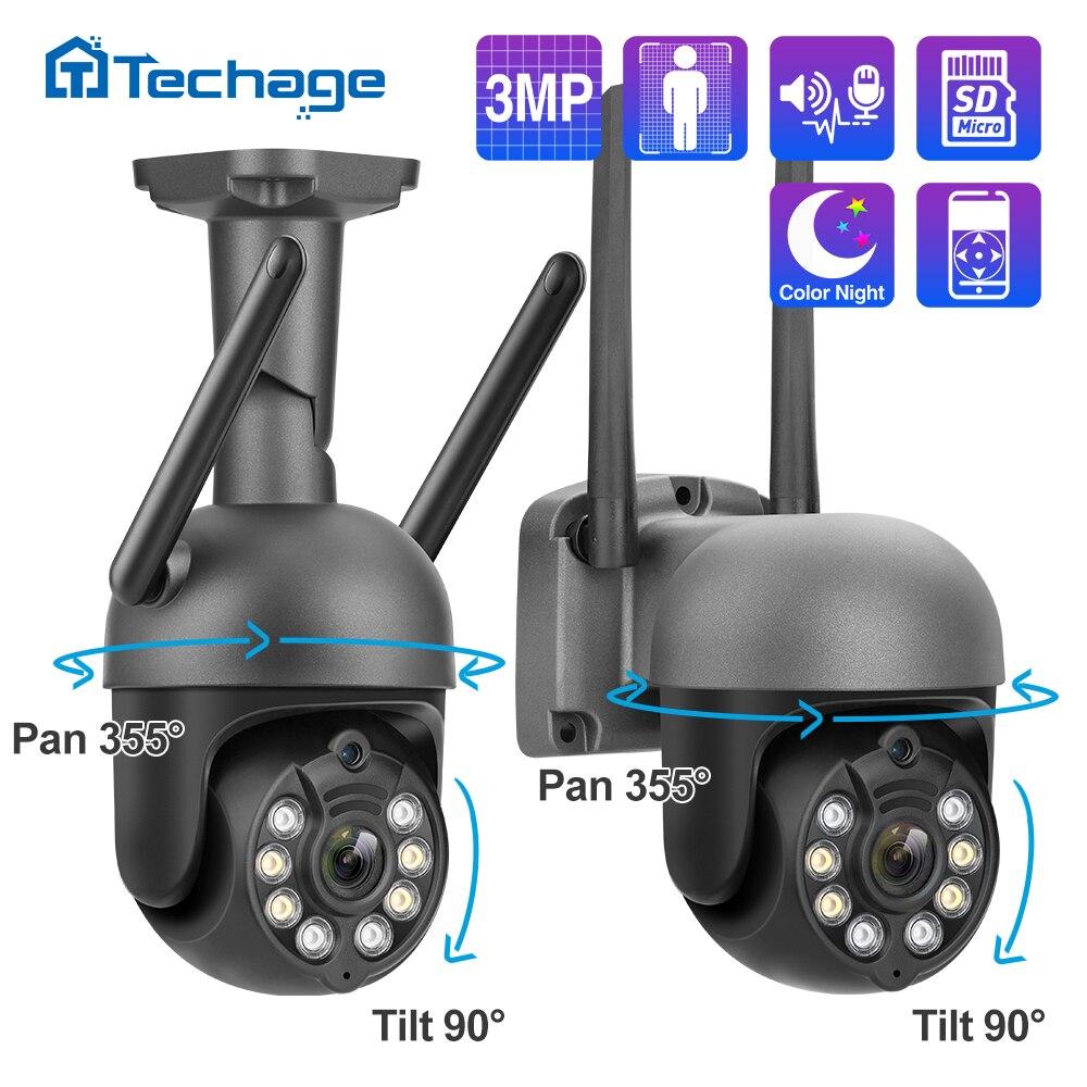 Techage كاميرا Wifi IP اللاسلكي 3MP 1080P اتجاهين الصوت سجل الأمن كاميرا كامل اللون P2P CCTV في الهواء الطلق فيديو المراقبة
