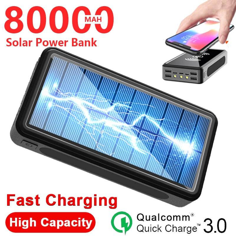 80000mAh بنك الطاقة الشمسية اللاسلكية شاحن سريع المحمولة Powerbank السفر في الهواء الطلق شاحن الطوارئ ل شاومي سامسونج آيفون