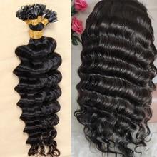 U Tip Human Hair Extensions Diepe Golf Braziliaanse Remy Human Hair 100 Strengen 1 G/s Natuurlijke Kleur Nail U Tip haar Flowerseason