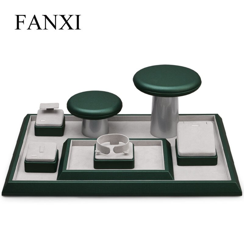 Oirlv PU Leather Jewelry Display Set Ring Necklace Organizer Tray Dark Green Jewelry Display Stand Earring Rack Holder 7 pieces lot modern white pu leather flower jewelry display cabinet wooden pendant necklace earring plate tray display board