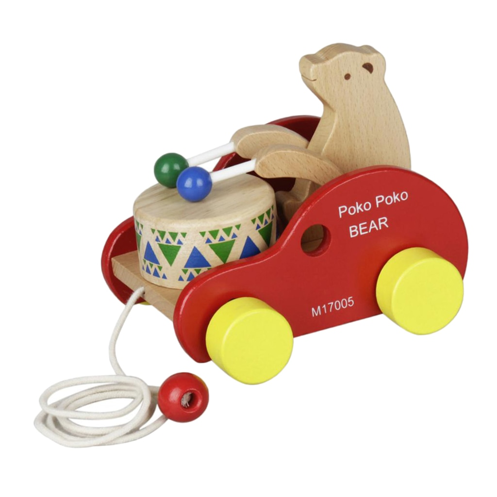 Bear Beat Drum Baby Developmental Toy Wooden Walking Walker Toy for Toddler