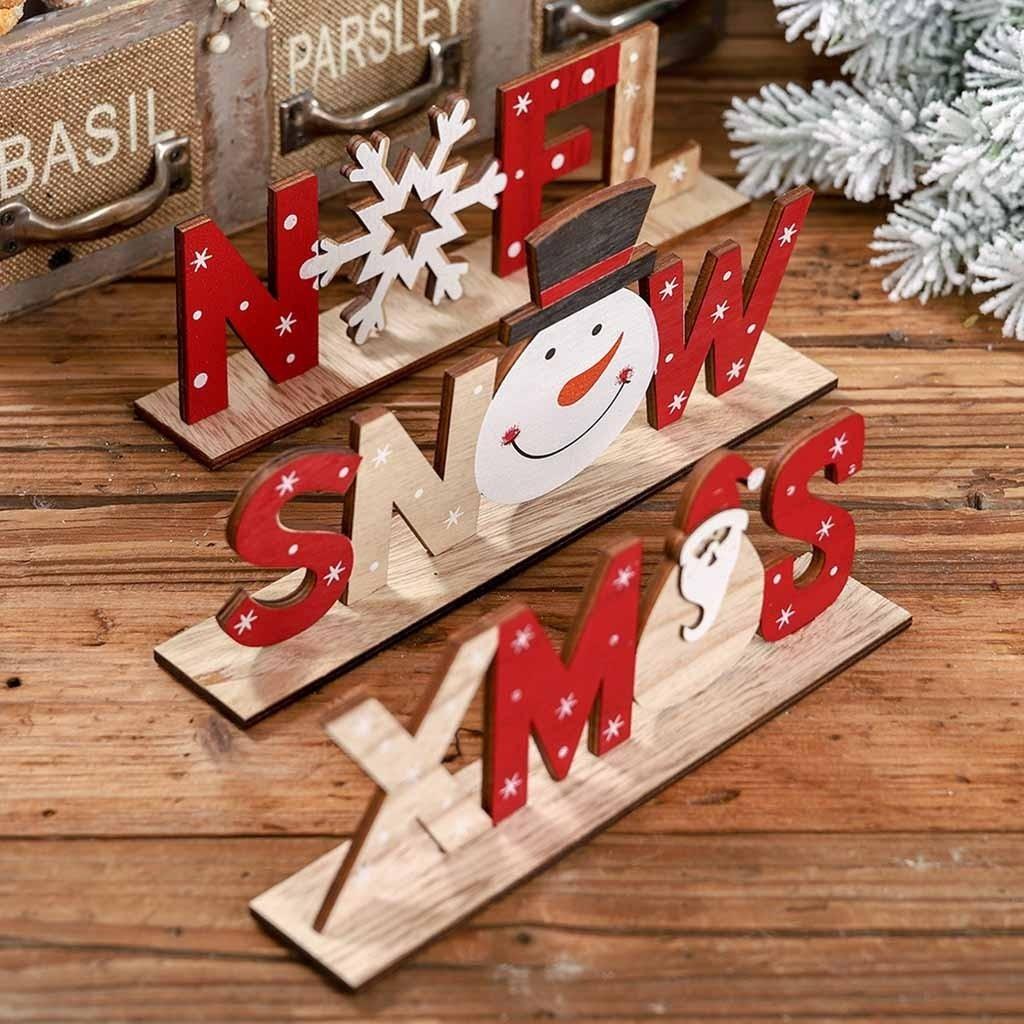 Navidad de madera Santa Claus Elk muñeco de nieve Festival ornamento pegatina para mesa Navidad regalos decoración fiesta Vintage hogar Decoración