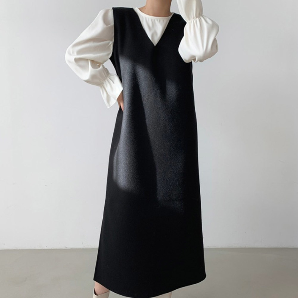 Korean Version Japanese Two Piece Sets Fashion Casual Temperament Flared Sleeves Coat V-neck Woolen Cloth Dress