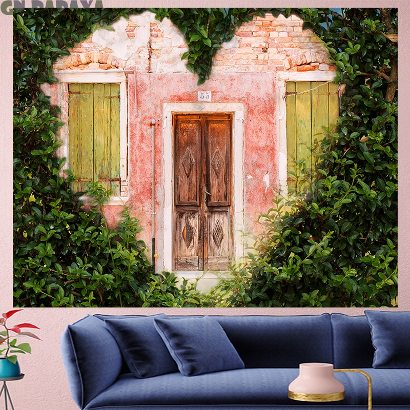 Tapiz de árbol en forma de corazón colgante de pared Casa de Campo decoración rosa paisaje escénico tapices boheme poliéster Yoga mat playa