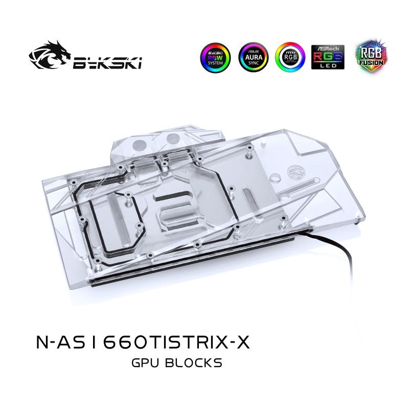 Bykski استخدام كتلة المياه ل ASUS ROG STRIX GTX1660TI O6G/غطاء كامل النحاس المبرد كتلة/3PIN 5 فولت A-RGB / 4PIN 12 فولت RGB