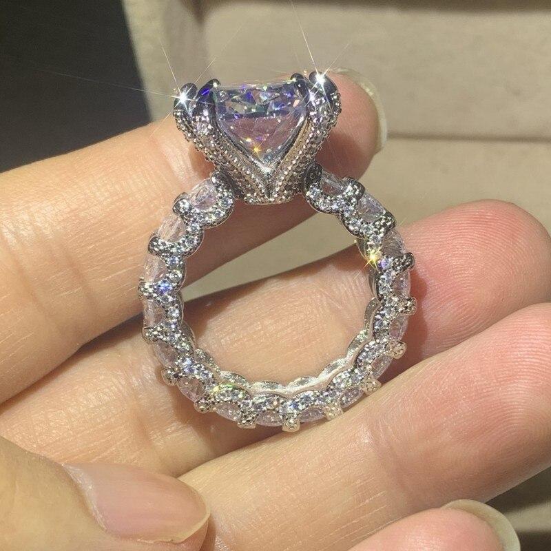 Clássico moda jóias 925 prata esterlina grande oval corte branco 5a zircão cúbico festa de casamento feminino noivado anel de noiva presente