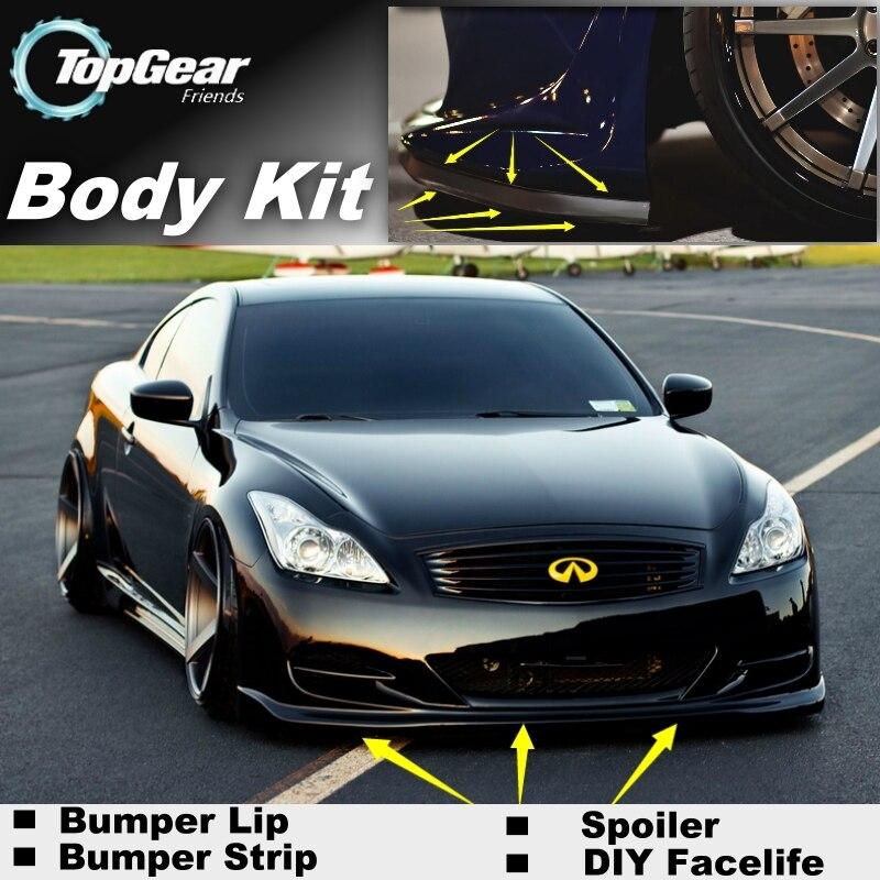 Para Infiniti G Series G20 G35 V35 G25 G37 Q40 Q60 parachoques labio/alerón delantero Deflector para personalización de automóviles/Kit de carrocería/falda de tira