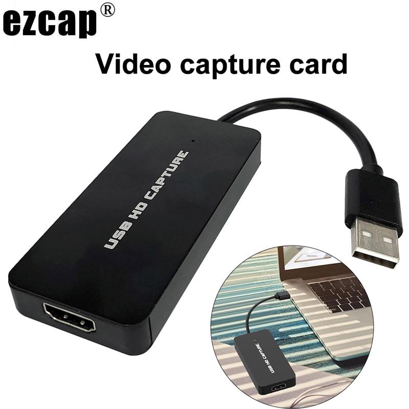 EZCAP 1080P 60fps Full HD caja de grabación de vídeo HDMI a USB 2,0 Audio tarjeta de captura de vídeo para PS4 Switch DSLR Cámara transmisión en vivo