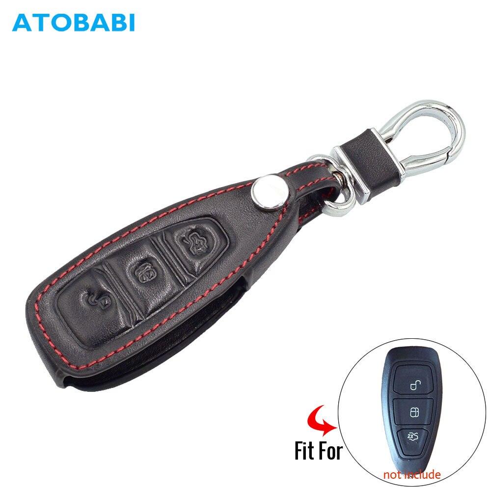Кожаный чехол для автомобильных ключей, чехол для Ford Focus 3 4 MK3 ST, RS Kuga ESCAPE Ecosport Новый Fiesta интеллектуальный пульт дистанционного управления Fob ч...