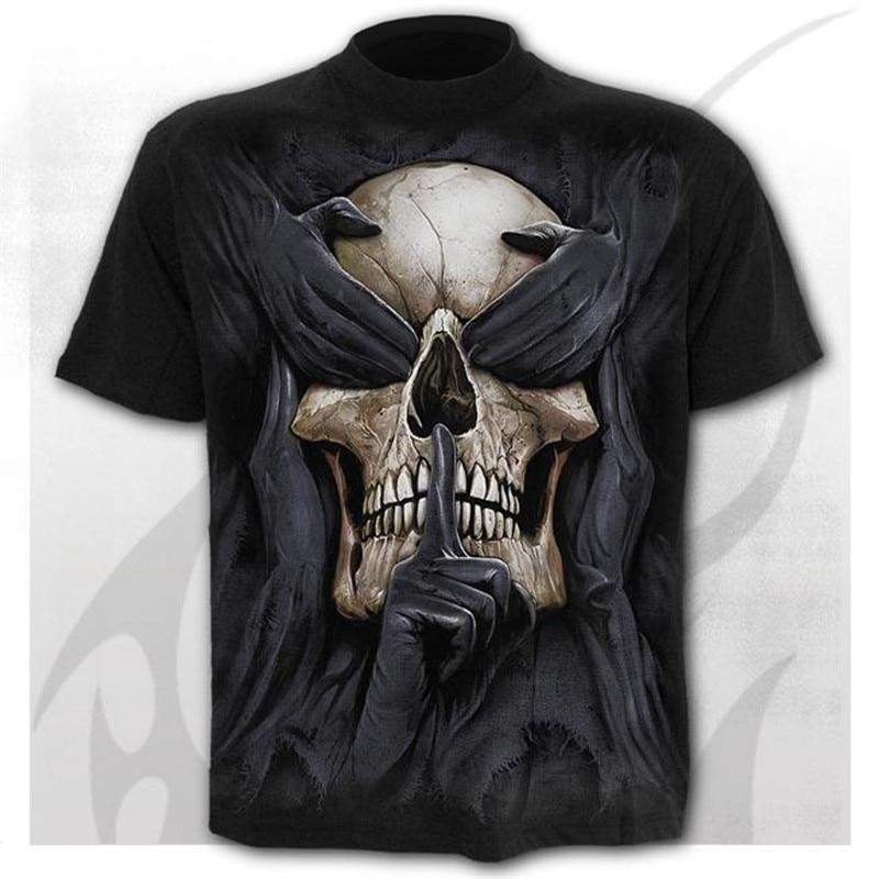 Camiseta negra con estampado de 3d de calavera para hombre de camisa...