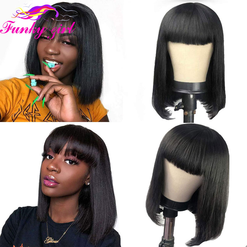 Straight Bob Human Hair Wigs With Bang Brazilian Remy Human Hair Bob Wig With Bangs T Part Lace Wigs 150% Short Pixie Cut Wigs