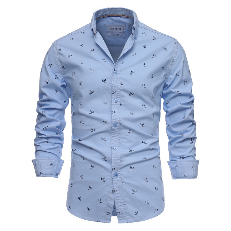 Новинка весна-осень 2021 высококачественные мужские однобортные рубашки с принтом и длинным рукавом из хлопка мужские рубашки с принтом