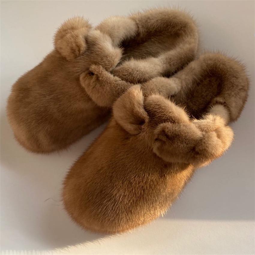 Women's Fur Slippers 100% Mink Fur Slippers Summer Fur Slippers Furry Flat Slippers Indoor Slippers
