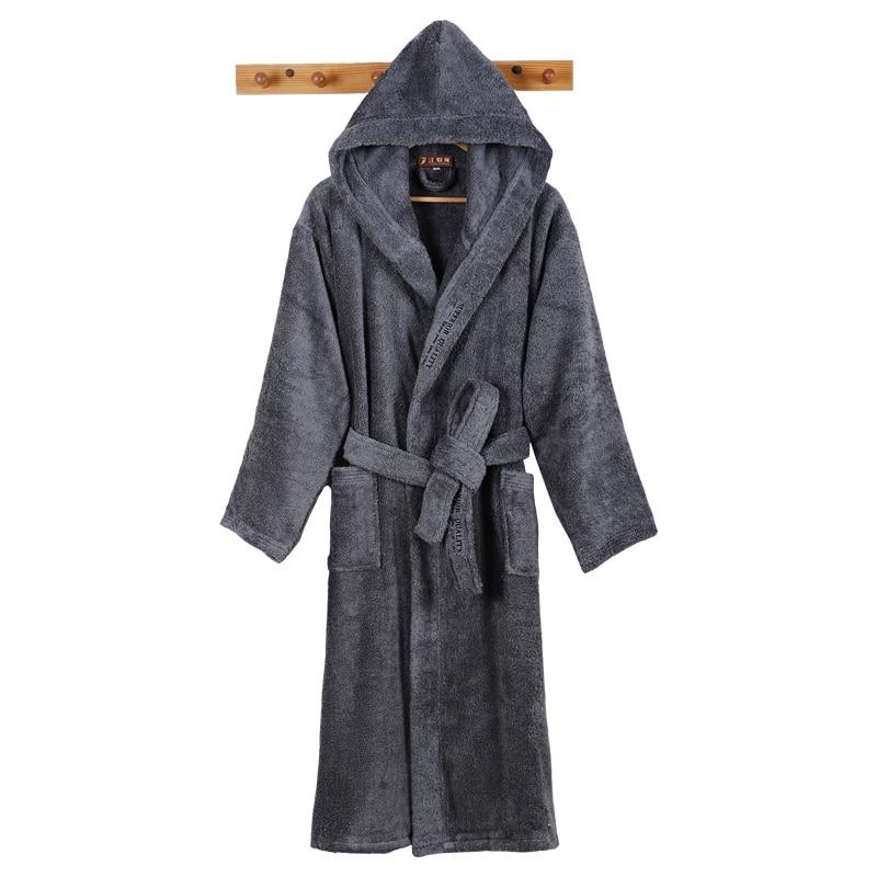 New Men Bathrobe Luxury Long Winter Men's Robe Warm Bathrobe Plus Size Bath Robe Soft Grid Towel Fleece Thermal Dressing Gown
