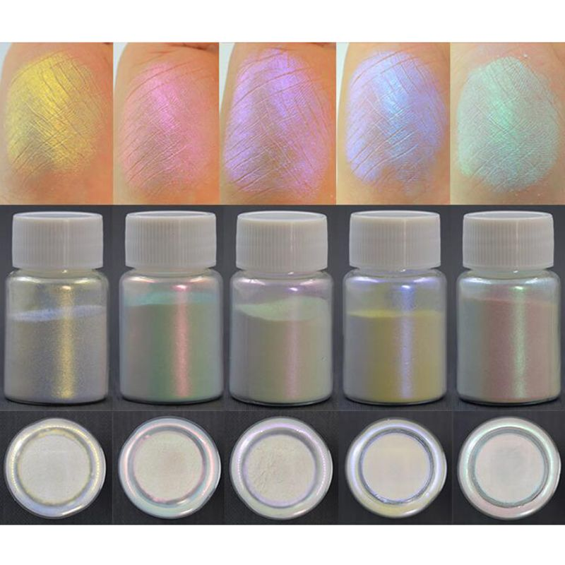 5 uds. Magic Aurora resina Mica para polvo efecto AB brillante pigmentos nacarados colorantes resina tinte fabricación de joyería 10g por