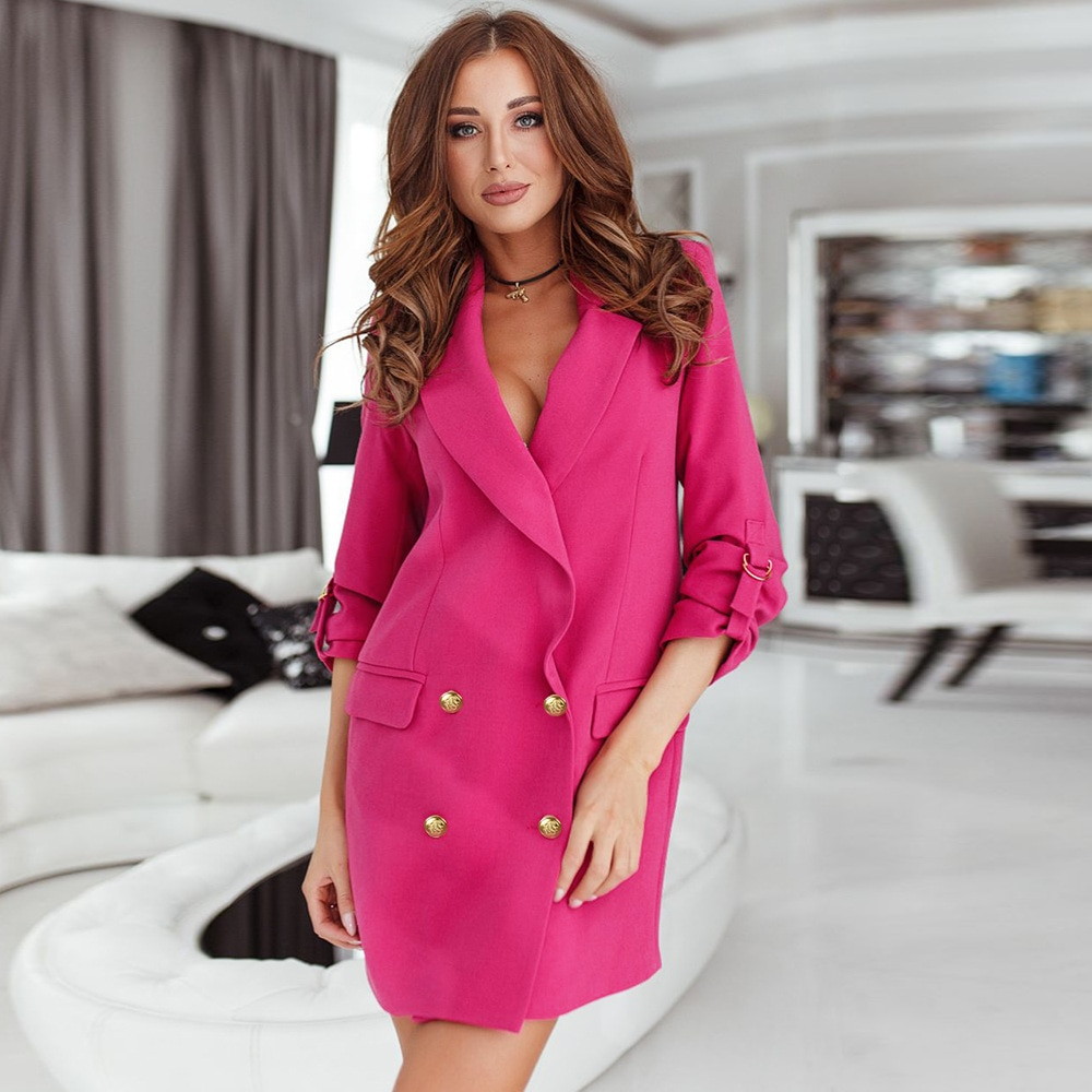 Women Blazer Fashion Casual Loose Temperament Small Suit Jacket  Solid Double Breasted Mid Length Suit Women's Commuter Wear fashion black trailblazer blazer new double breasted temperament commuter suit jacket women short casual long sleeve tops women