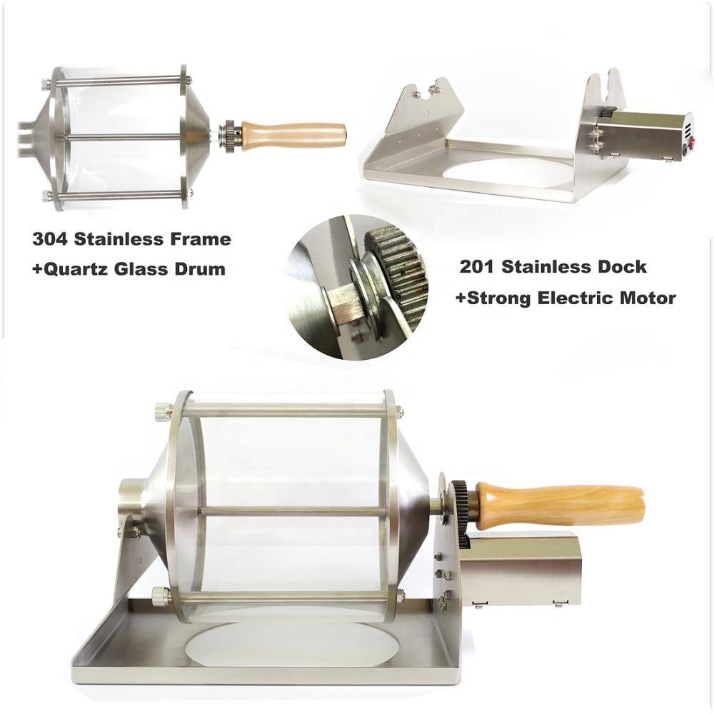 صغيرة المنزلية الوقود الغاز محمصة قهوة النار مباشرة المحمصة 400 جرام قدرة الزجاج شفاف التصور 100 فولت-240 فولت