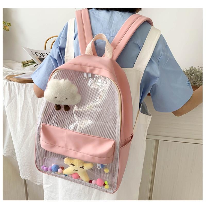 Модный прозрачный водонепроницаемый женский рюкзак из ПВХ, новый тренд, прозрачный однотонный рюкзак, дорожный Школьный рюкзак, сумка для д...