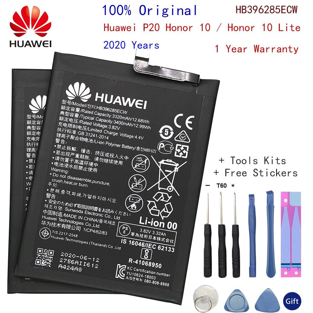 Batería de teléfono de repuesto Original HB396285ECW para Huawei P20 Honor 10 Honor 10 Lite, batería recargable auténtica de 3400mAh