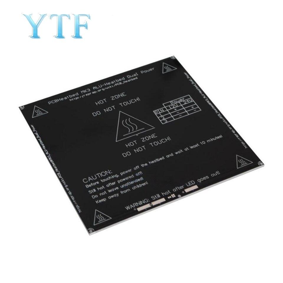 Imprimante 3D MK3 substrat en aluminium lit chaud chauffant 214*214MM Reprap Standard 3MM Version améliorée coins arrondis
