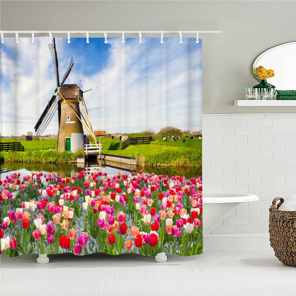 High Quality Beautiful Fresh Flowers Shower Curtain Waterproof Fabric Tulip Floral Bath Curtains for