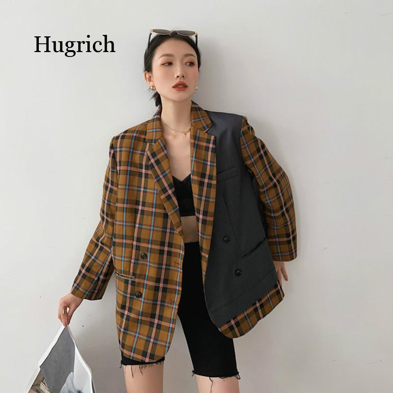Contrast Color Brown Plaid Vintage Street Wear Loose Turn-Down Collar Double-Breasted Blazer Women Autumn 2021 contrast tied bell cuff and collar plaid dress