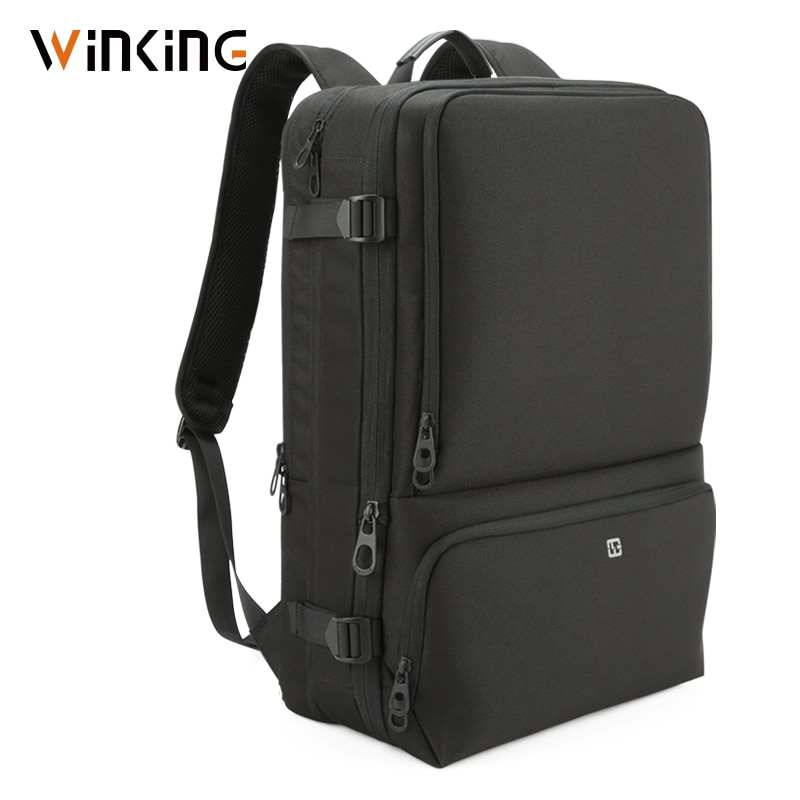 Marca Kingsons agrandar la mochila USB carga externa 17 pulgadas portátil mochila hombro hombres antirrobo impermeable mochila de viaje